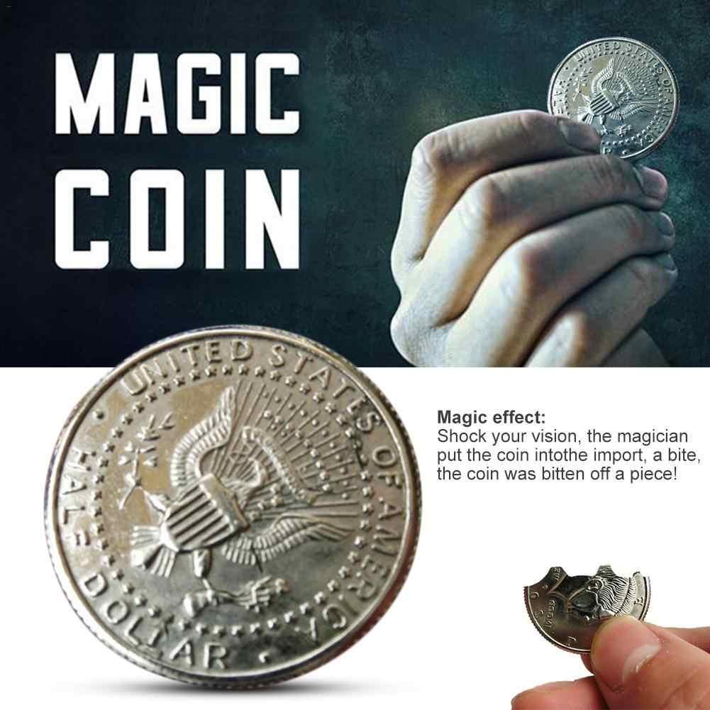 العملات السحرية والورق المال لدغة استعادة الوهم عملة لعرض السحر عض عملة نصف دولار الساحر عملة