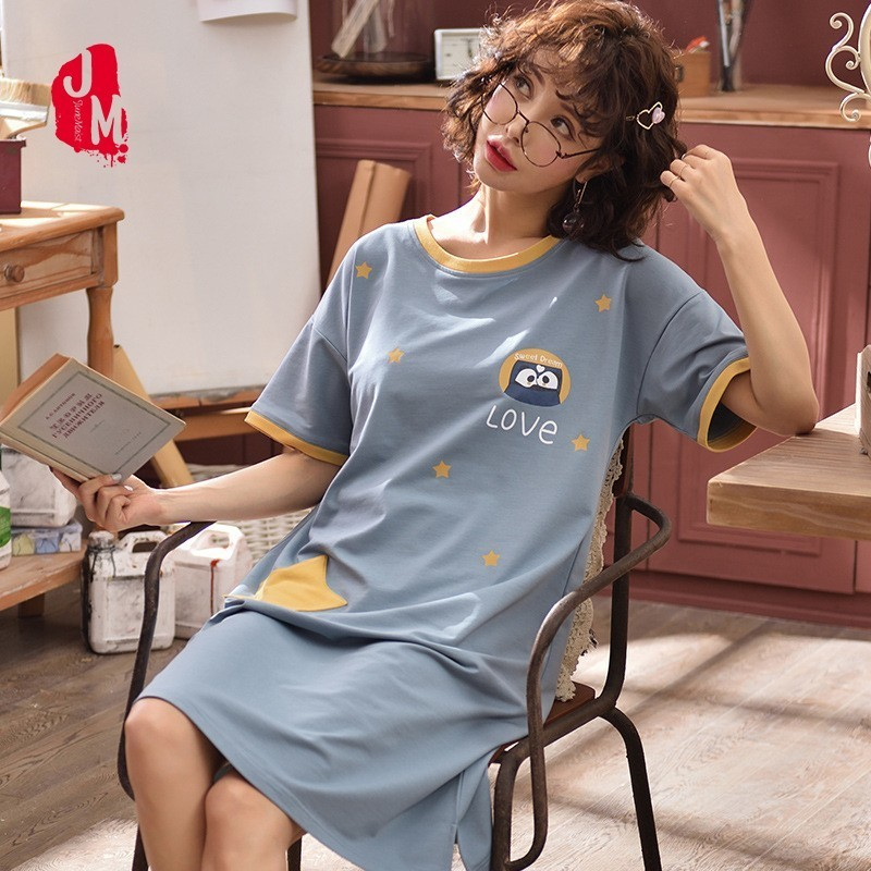 New Arrival Fashion Women Cotton   Nightgowns     Sleepshirts   Summer Home Dress Sleepwear Loose Lounge Nightdress Indoor Clothing