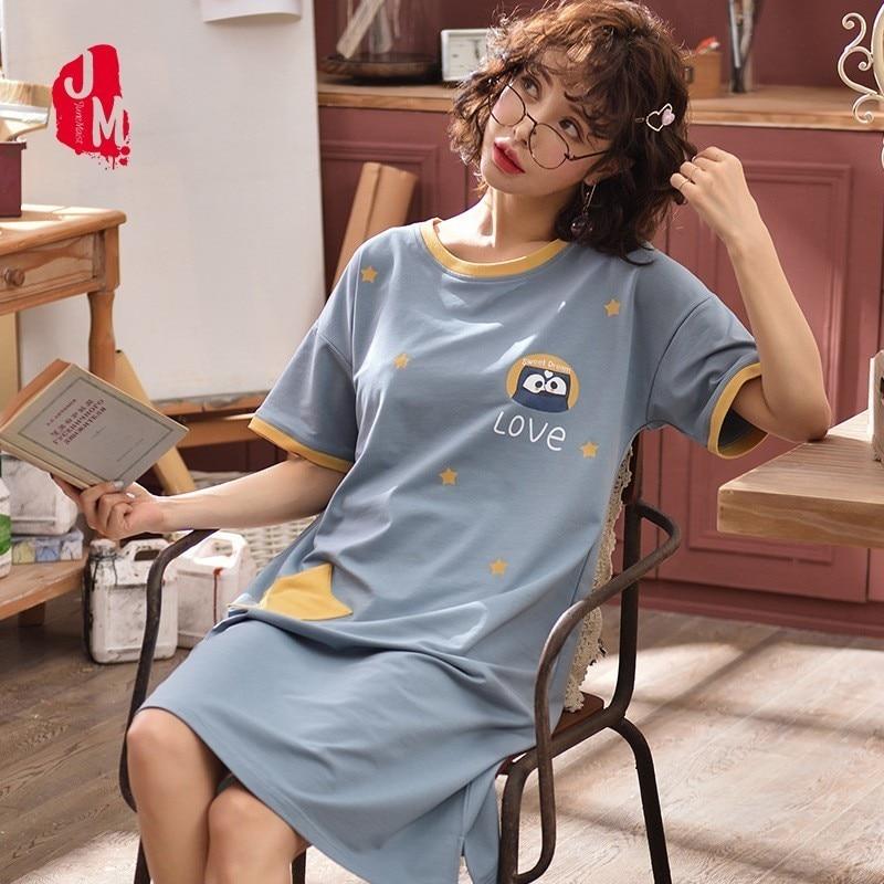 New Arrival Fashion Women Cotton   Nightgowns     Sleepshirts   Summer Home Dress Sleepwear Loose Lounge Nightdress Indoor Clothing