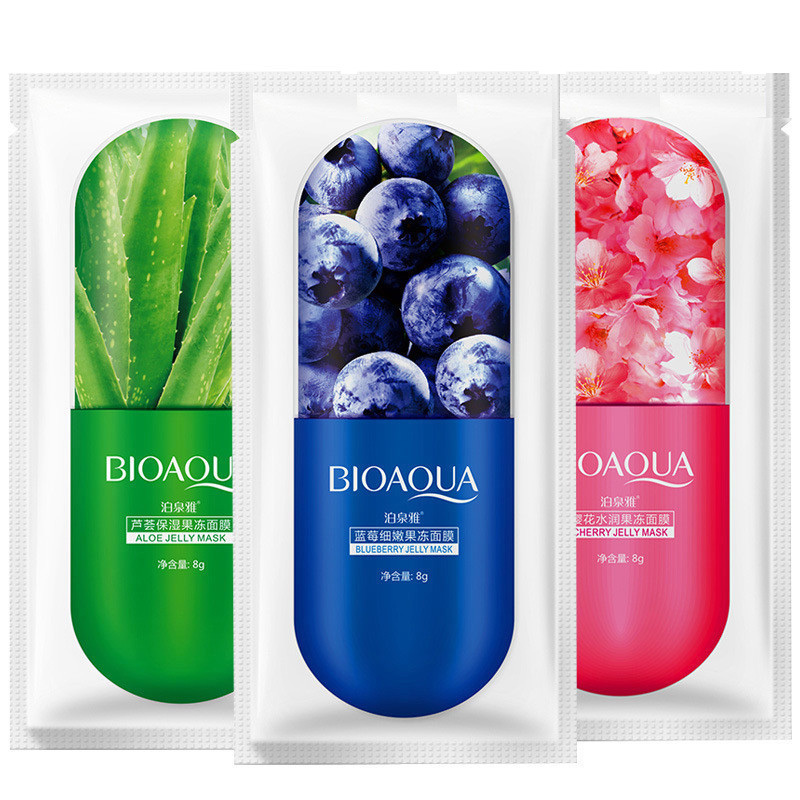 Bioaqua Jelly Mask Face Care Aloe Vera /blueberry/cherry Blossom Three Types Optional Moisturizing Sleep Jelly Facial Mask 1pcs