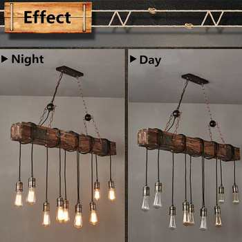 Hanging Antique Farmhouse Wood Beam Island Pendant Lights With 10 Edison Bulb Home Kitchen Restaurant Decorations