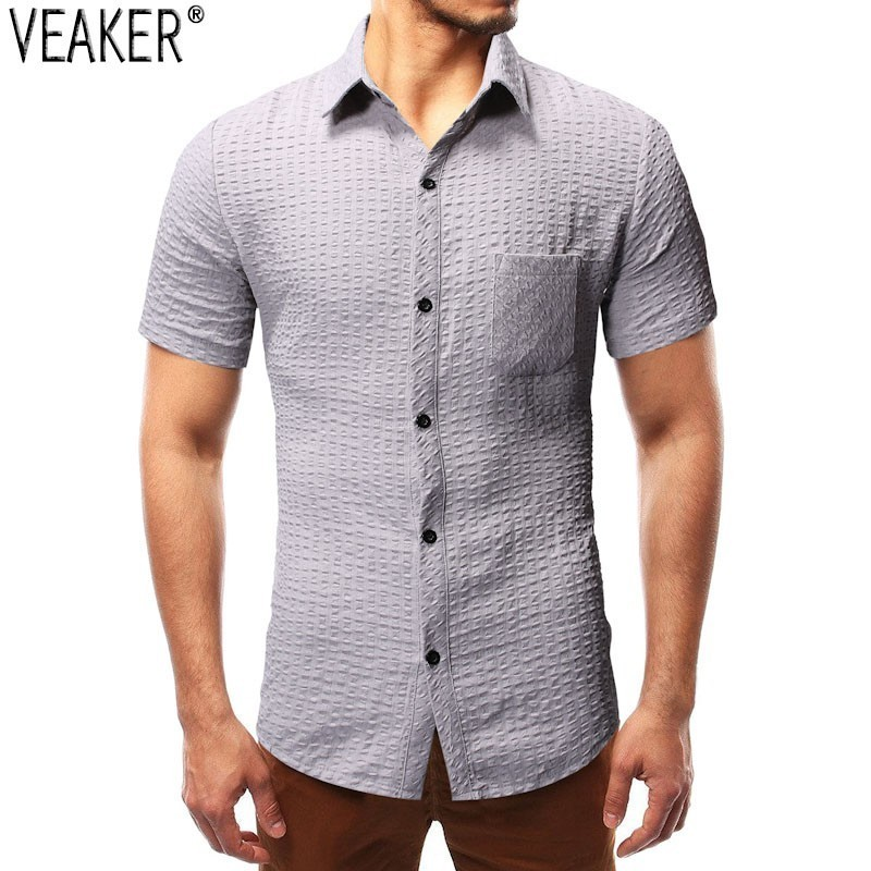 2019 New Men's Breathable Short Sleeve Shirt Male Solid Color Slim Fit Shirt Tops Male Casual Business Shirt M-3XL