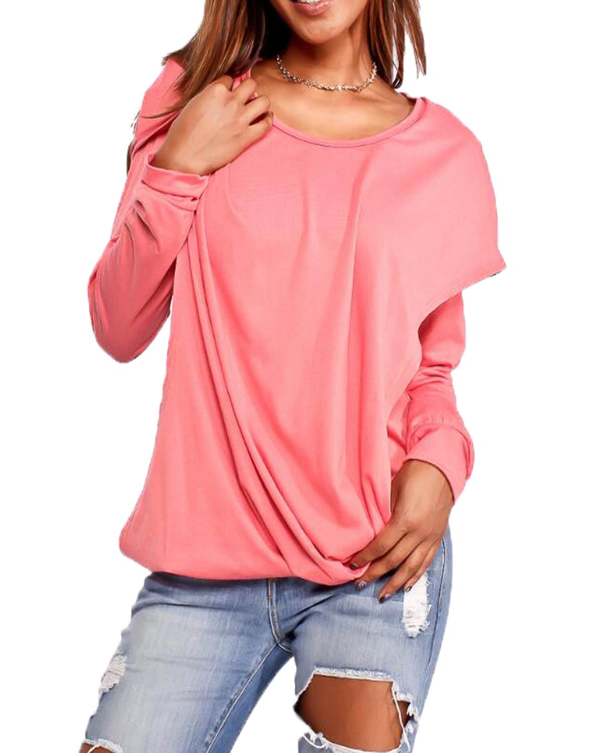 Women Pullover Hooded T-Shirts ZANZEA 2019 Spring Casual Loose Solid Round Neck Long Sleeve Tops Tees With Pockets Plus Size 2xl