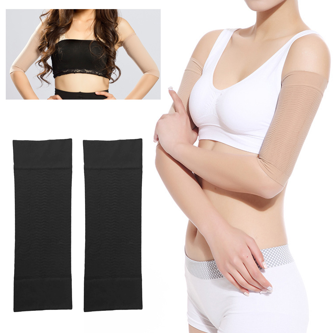 1Pair Women Arm Slimmer Sleeve Sauna Belt Arm Shaper Massager Sleeve Massage Arm Anti Cellulite Weight Loss Products Health Care