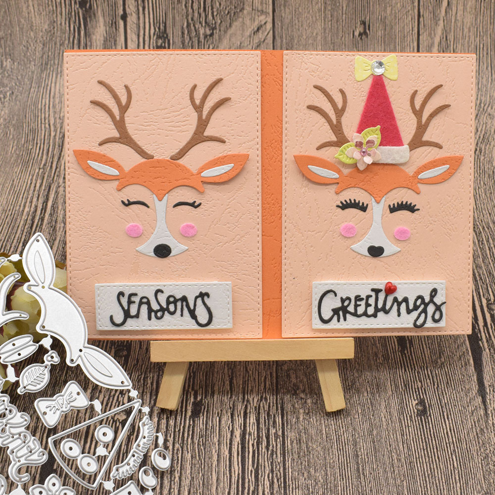 Cute Deer Animal Metal Cutting Dies For Scrapbooking Paper Greetings Card Album Decoration Embossing Template Craft Dies in Cutting Dies from Home Garden