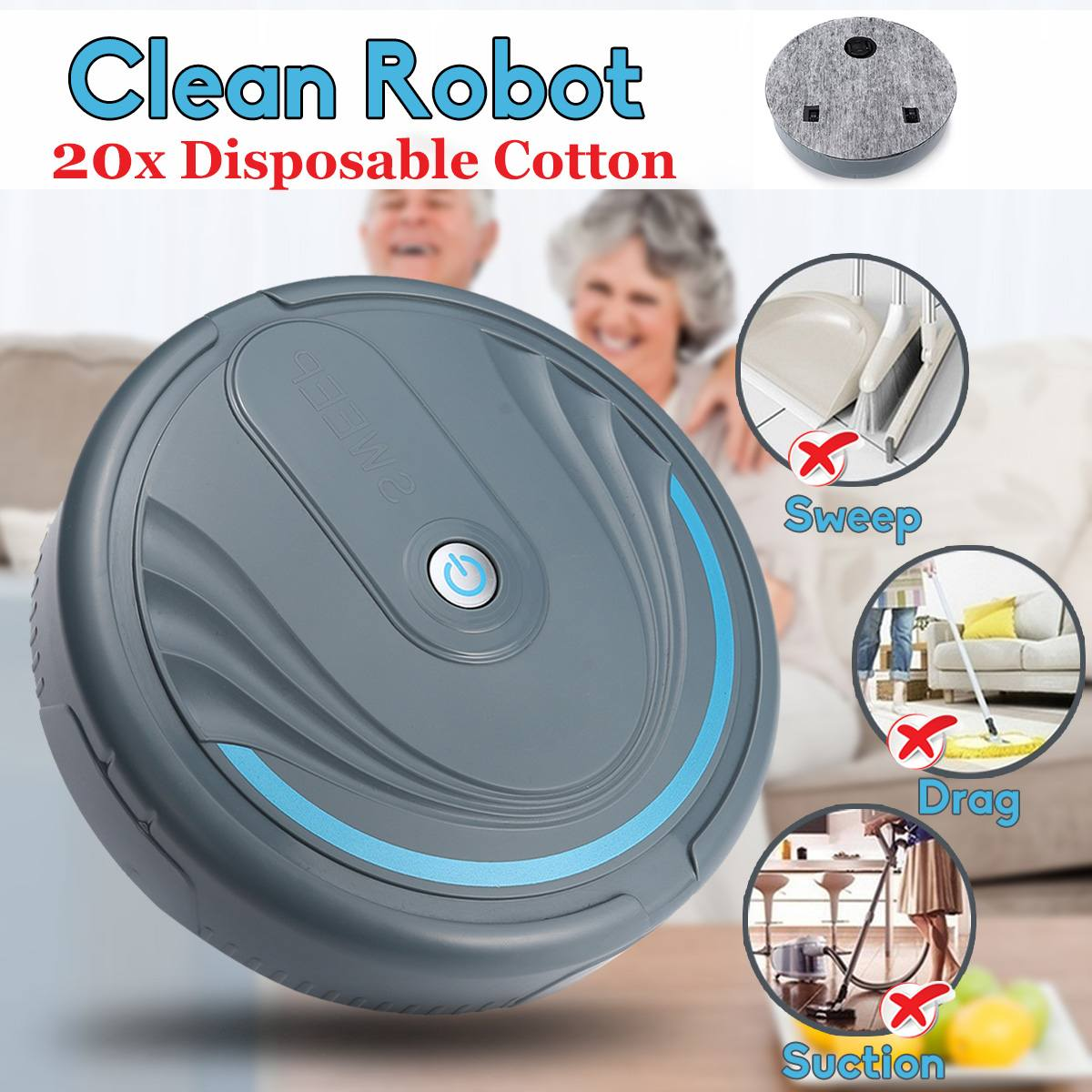 Hot Sale Battery Home Cleaning Robot Mute Design Smart Sweeping Robot Floor Dirt Dust Hair Automatic Cleaner Electric Vacuum Cleane Price Remains Stable Back To Search Resultshome Appliances