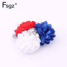 Fashion Fabrics Flower Crystal Elastic Headbands For Baby American Colors Hair Ornaments Three-pieces Floral Band Accessory