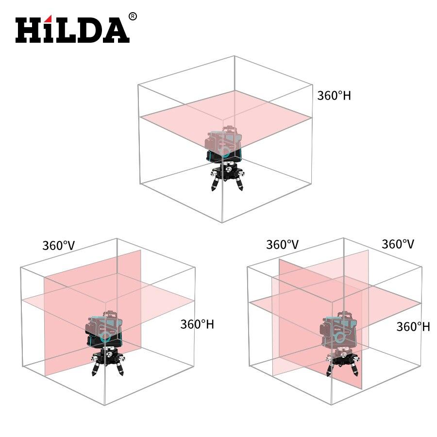 Niveau Laser HILDA 12 lignes niveau 3D auto-nivelant 360 Horizontal et Vertical croix Super puissant niveau Laser vert - 2