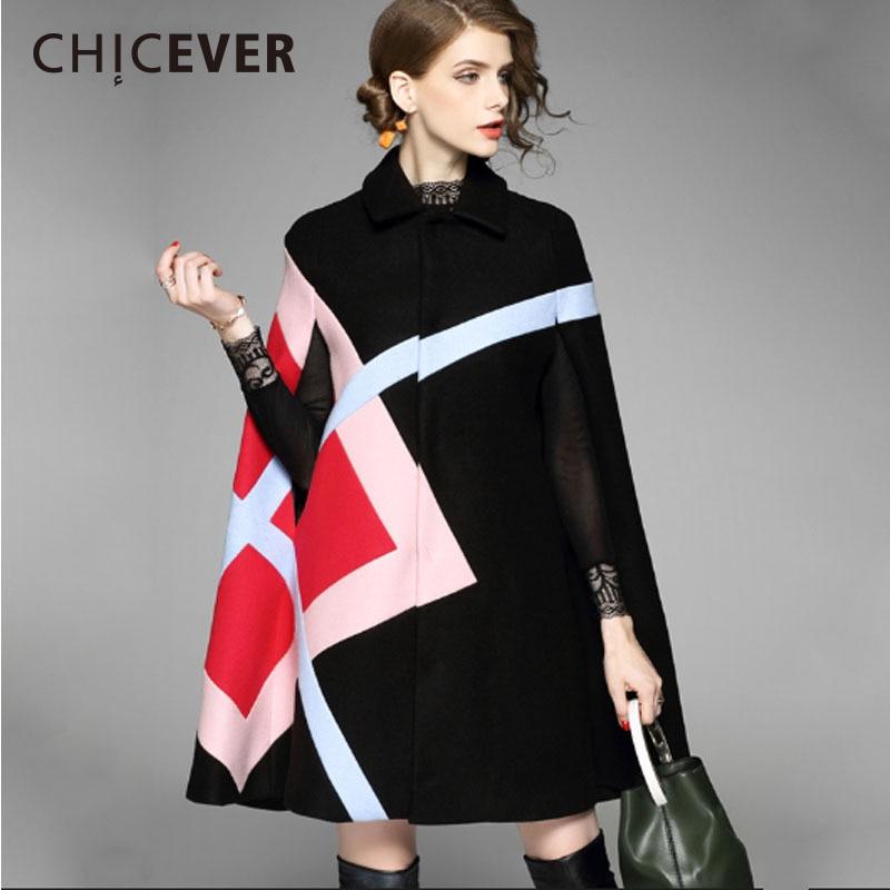 CHICEVER Winter Hit Colors Women Coats Female Cloak Black Plus Size Warm Long Coat Woolen Overcoat