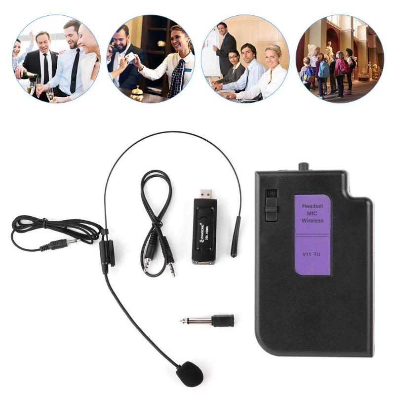 20mW Portable Wireless 50 Meters Mic Head-mounted Microphone With Receiver Transmitter Microphones 80Hz-15kHz Microphone