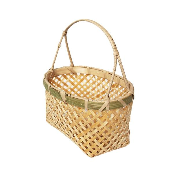 1 Pc Cesta De Bambu para Uso Doméstico Portátil Artesanal Flor de Tecido Cesta De Armazenamento Cesta De Piquenique Cesta de Piquenique Home Decor Camping