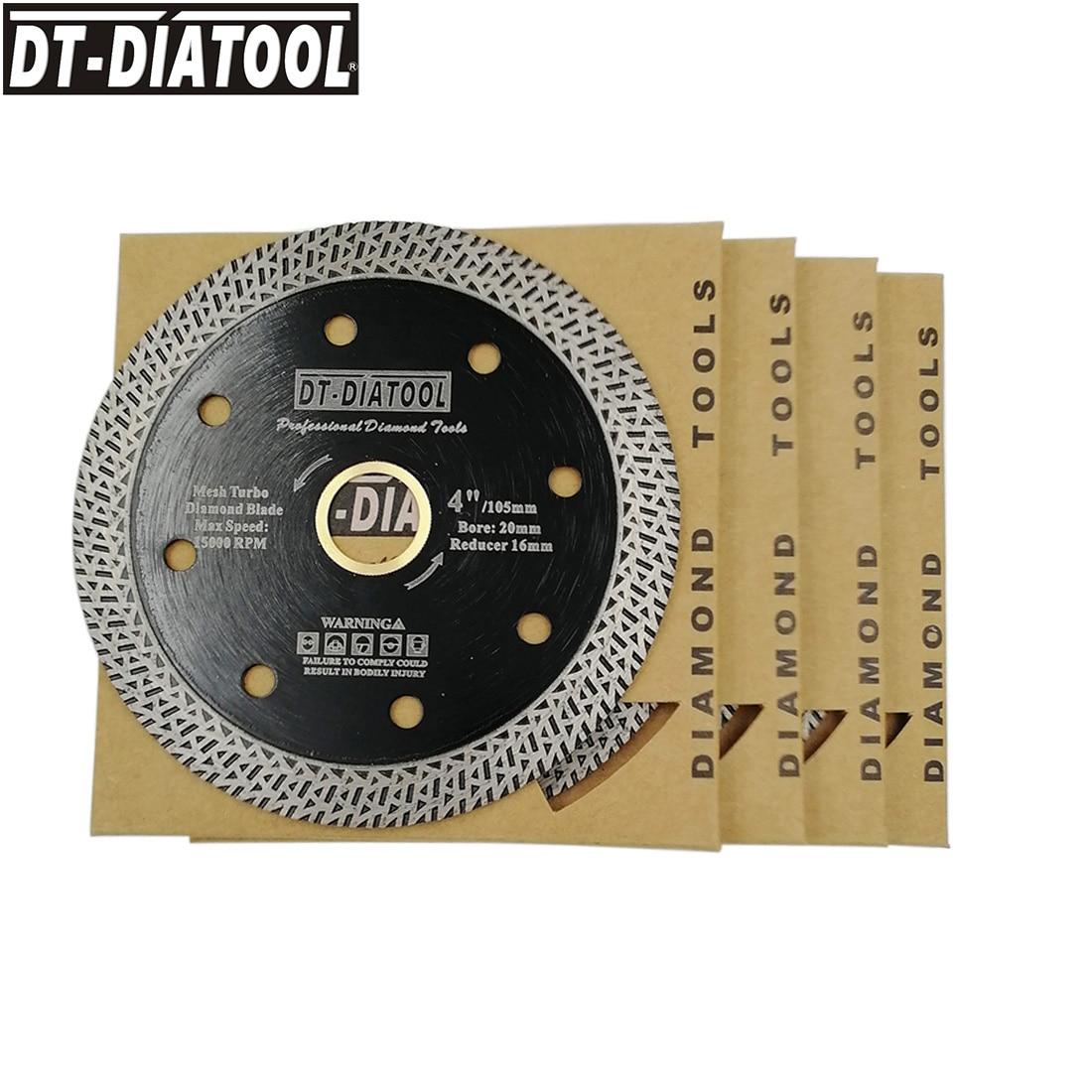 DT-DIATOOL 5 pcs Diameter 105mm Dry or wet Hot-pressed sintered Diamond Cutting Disc With Mesh Turbo Rim Segment 4inch Saw Blade