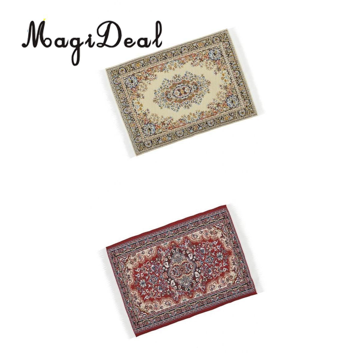 2Pcs 1/12 Scale Dollhouse MIniature Woven Rug Floor Carpet Dolls House Bedroom Living Room Furniture Decor Life Scenes