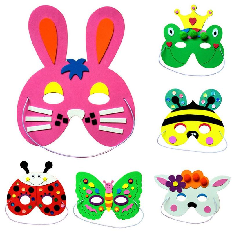 1pc DIY EVA Cartoon Mask Masquerade Cosplay Kindergarten Masks Toys Bright Color Fun Education Toys For Children Christmas Gifts