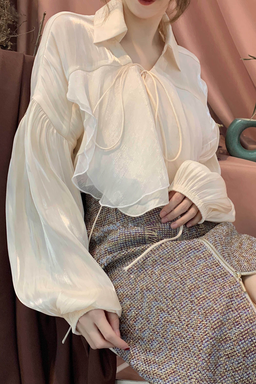 Ruffle V Woman Asymmetry Stitching Shirt Apricot New 2019 Sleeve Casual Tops neck Women E165 Irregular Blouses Bow Lantern vEqAE