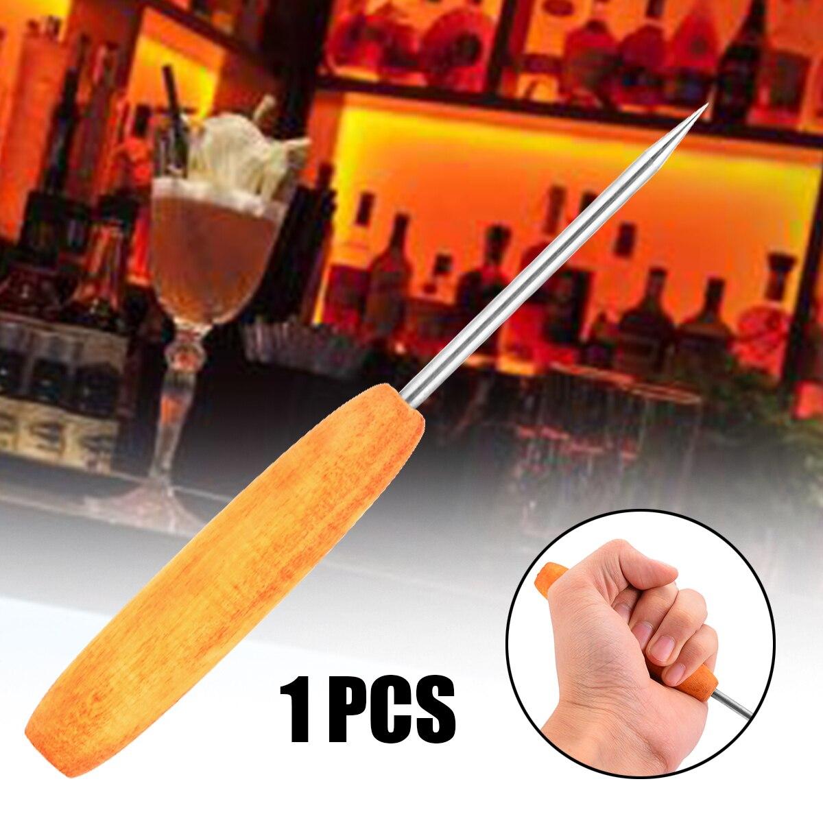 1 St Rvs Ice Pick Punch Crusher Met Houten Handvat Bar Beitel Voor Party Home Keuken Bar Pub Tool