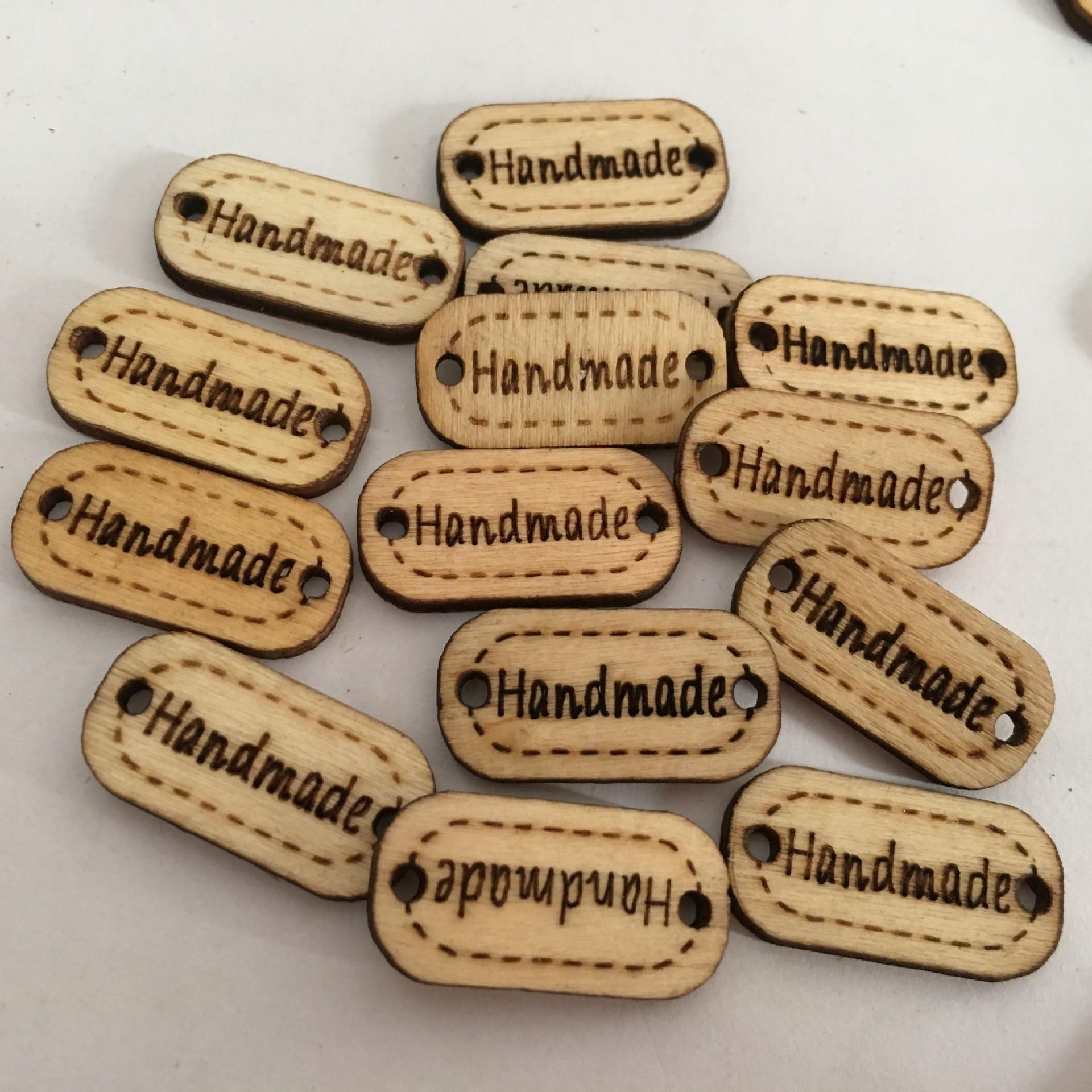 100pcs//set Oval Rectangle Handmade 2 Holes Wood Buttons Crafts Scrapbooking DIY