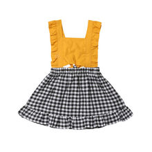 Toddler Baby Girls Fashion Dress Ruffles Flying Sleeve High Waist Cute Plaid Mini Dress Summer Cotton Dress