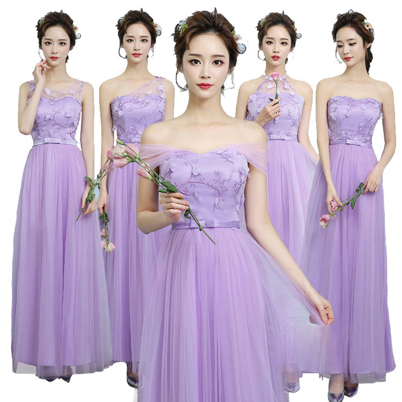 Beauty Long lace Bridesmaid Dresses Formal Party Prom Net yarn long elegant generous Gowns
