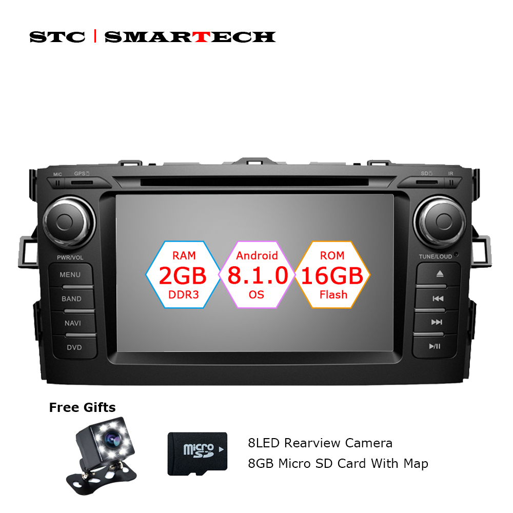 SMARTECH 2 Din Android 8.1 Car Audio Radio DVD GPS Navigation System For Toyota Auris hatchback Quad-Core 2GB RAM 16GB ROM