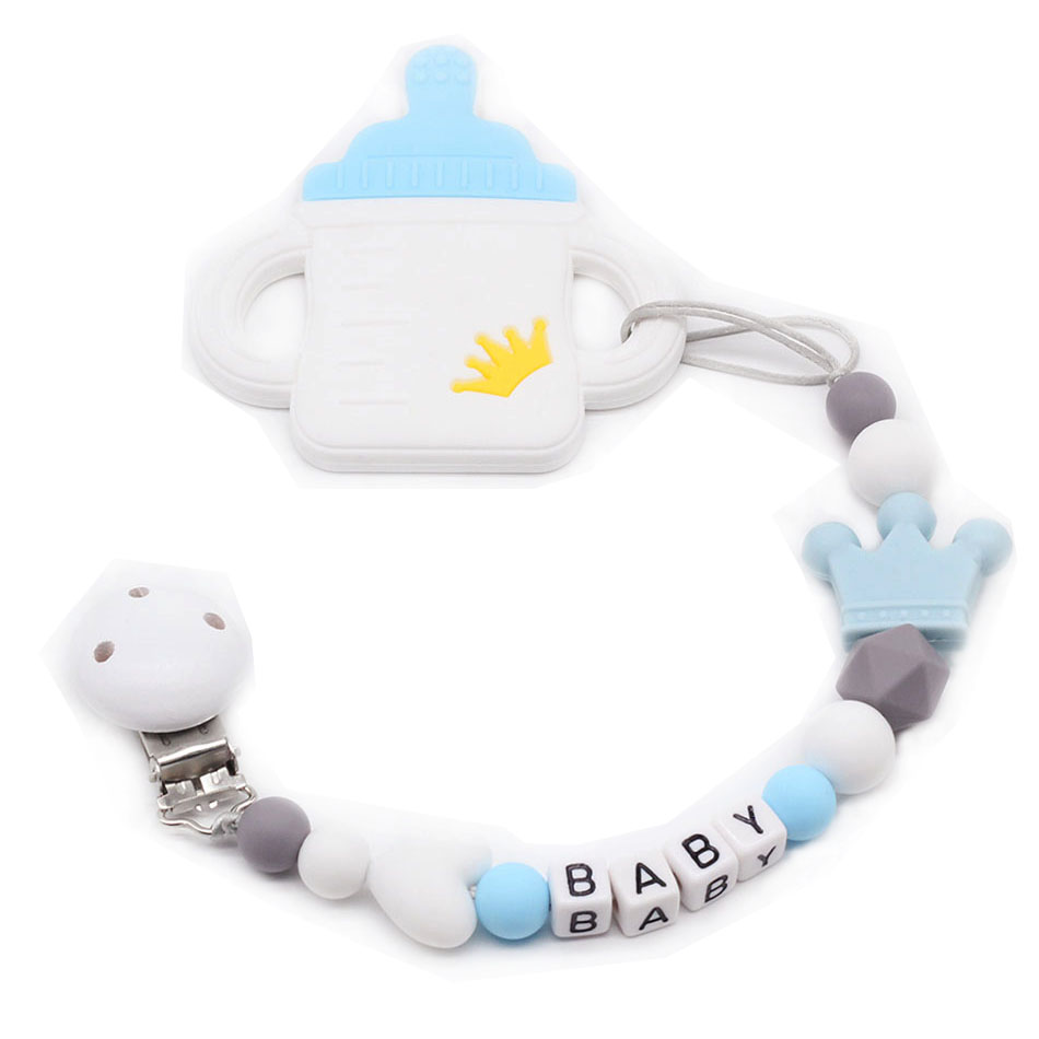 Custom Baby Name Pacifier Personalize Silicone Beads Binky Clip Pacifier Chain Chew Baby Teether Toys Nipple Holder