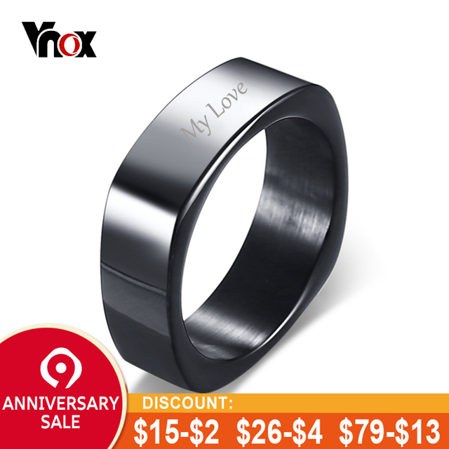 68691038fc Vnox Free Engraving Name Stylish Square Shape Ring for Men Customized Info  Personalized Male Jewelry Stainless