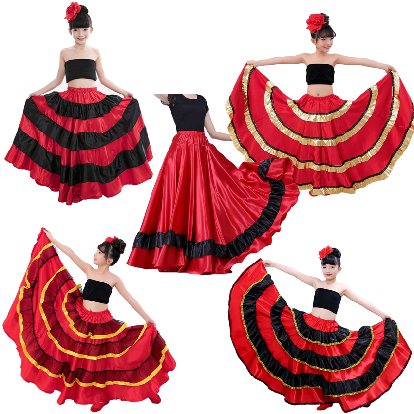 Princess Girls Spanish Flamenco Dance Costumes Skirt Red And Black Gypst Style Ballroom Belly Dance Dress For Kids Girls
