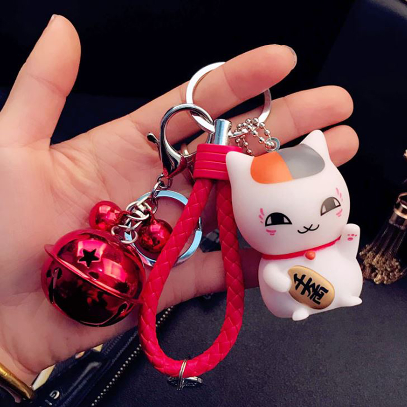 1 Pc Cute Cartoon Japan Natsume Yuujinchou Nyanko Sensei Cat Keychain Key Ring Car Purse Bag Pendant Figure Toy