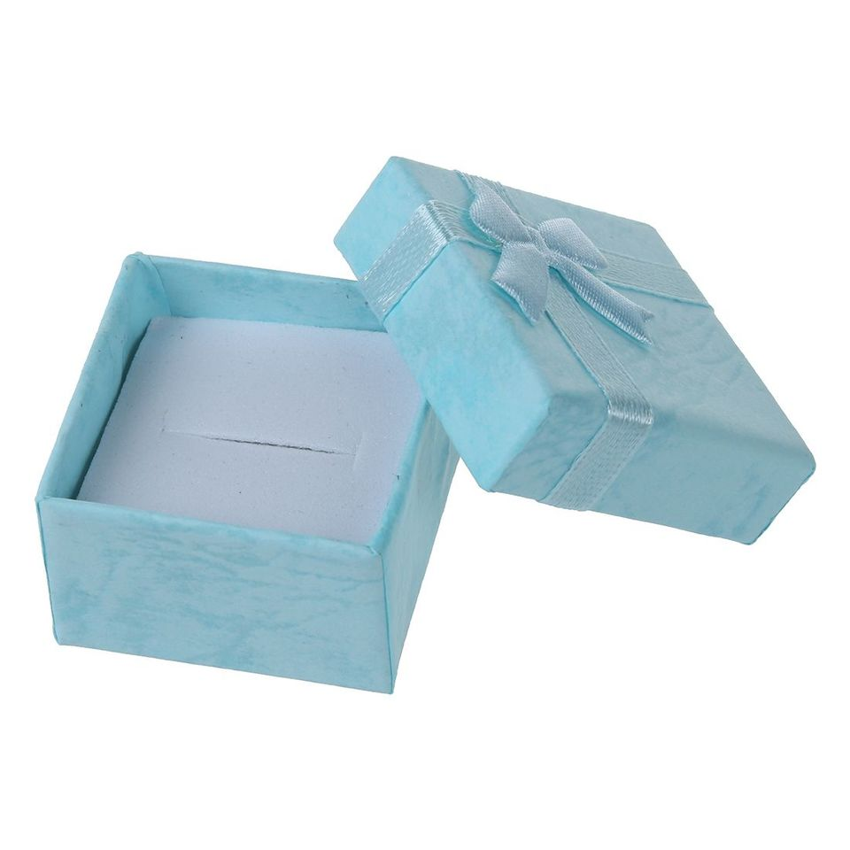24PCS Ring Earring Jewelry Display Gift Box Bowknot Square Case B