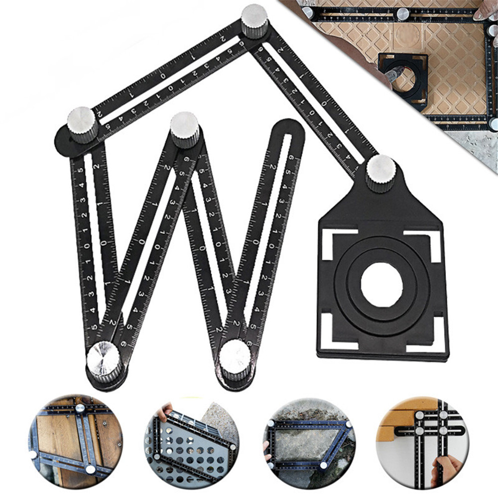 Adjustable Multi Angle Ruler Tile Hole Locator 6 Folding Metal Measuring Ruler Drill Guide Openings LocatorAdjustable Multi Angle Ruler Tile Hole Locator 6 Folding Metal Measuring Ruler Drill Guide Openings Locator