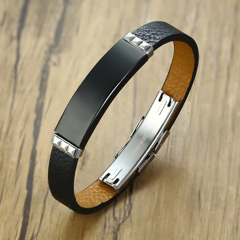 Men Bracelet Stainless Steel Black ID Tag Leather Inspiration Bracelet Men Wristband Jewelry