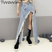 TVVOVVIN Tassel Denim Skirt For Women High Waist Split Large Size Irregular Skirts 2019 Female Summer Sexy Clothing E036