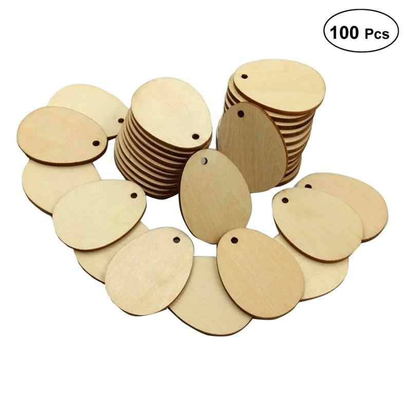 100PCS Decorative Wood Chips with Hole Egg Shape Painted Decoration for Craft DIY Log Wood Pieces