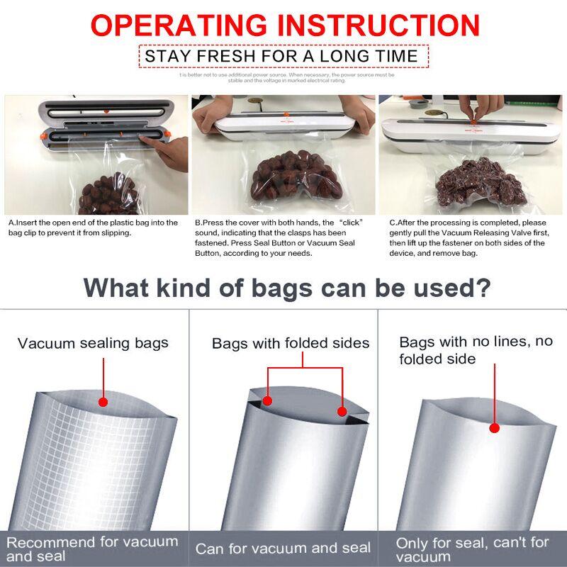 Image 5 - Aferidor do vácuo de alimentos para uso doméstico máquina de embalagem com 10 pces sacos livres 220 v 110 v automático comercial melhor aferidor do vácuo alimentos miniSelantes de alimentos a vácuo   -