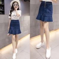 Women Denim Skirt Ruffles Cotton Above Knee Mini Length Solid A Line Empire Waist Fashion Preppy Style Summer