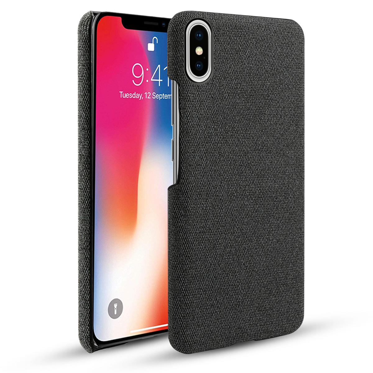 For iPhone 11 Pro Max 6 5 11 6 1 2019 Case Slim Hard PC Woven Fabric Cloth Shockproof Cover For iPhone X XR Xs Max 5S SE 5 Case in Half wrapped Cases from Cellphones Telecommunications