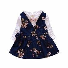 цена на 2020 New Grils Princess Dress Spring Clothes England Style Cotton Bowknot Flowers Dress Baby Toddler Girls Long Sleeve  Dresses