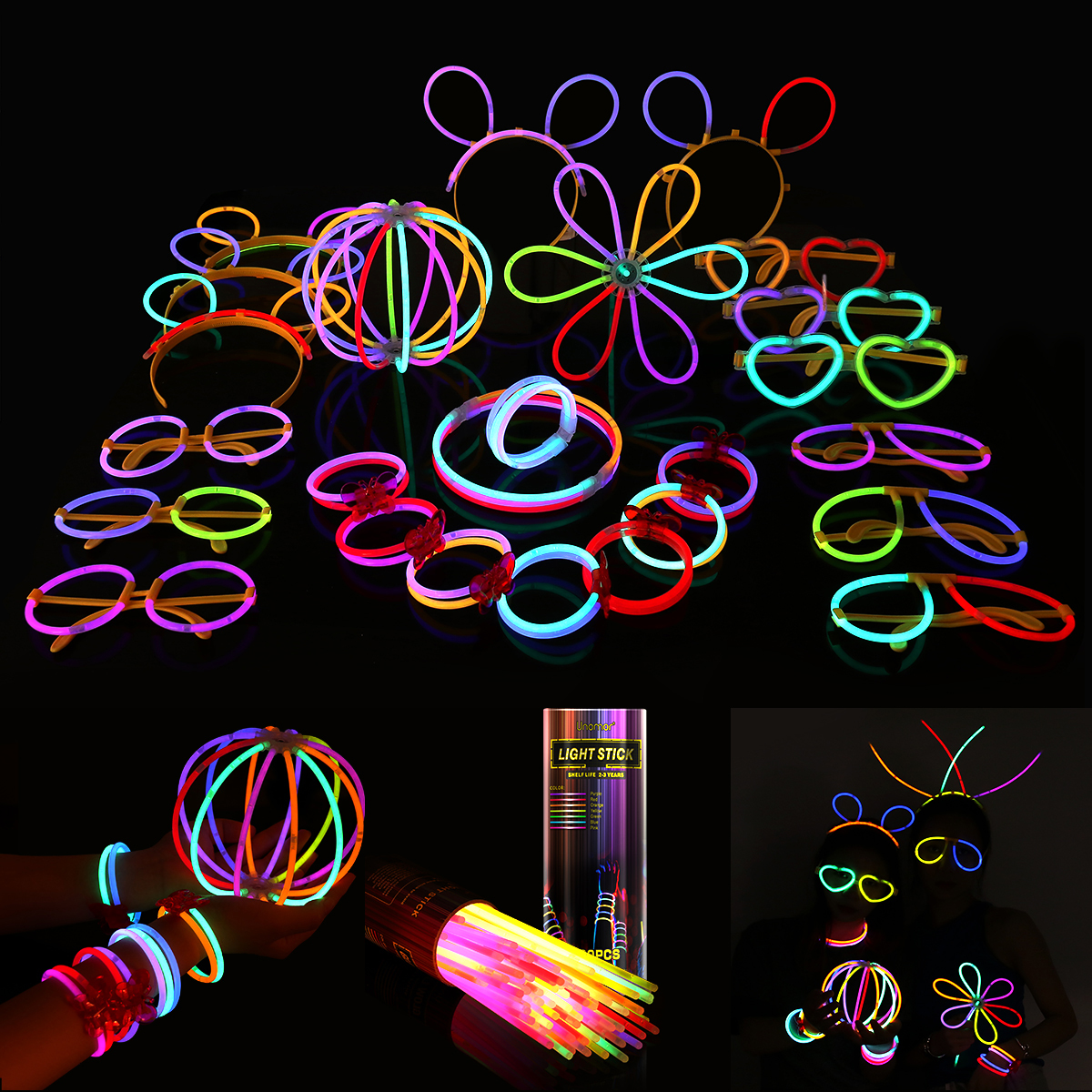 Multi Color Fluorescent Light Sticks Glasses Headbands Glow Sticks Fluorescent Bracelets Necklaces Set For Parties Festivals