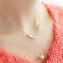 Temperament Sweet Accessories Pearl Necklace Female Jewelry Clavicle Thin Chain(China)