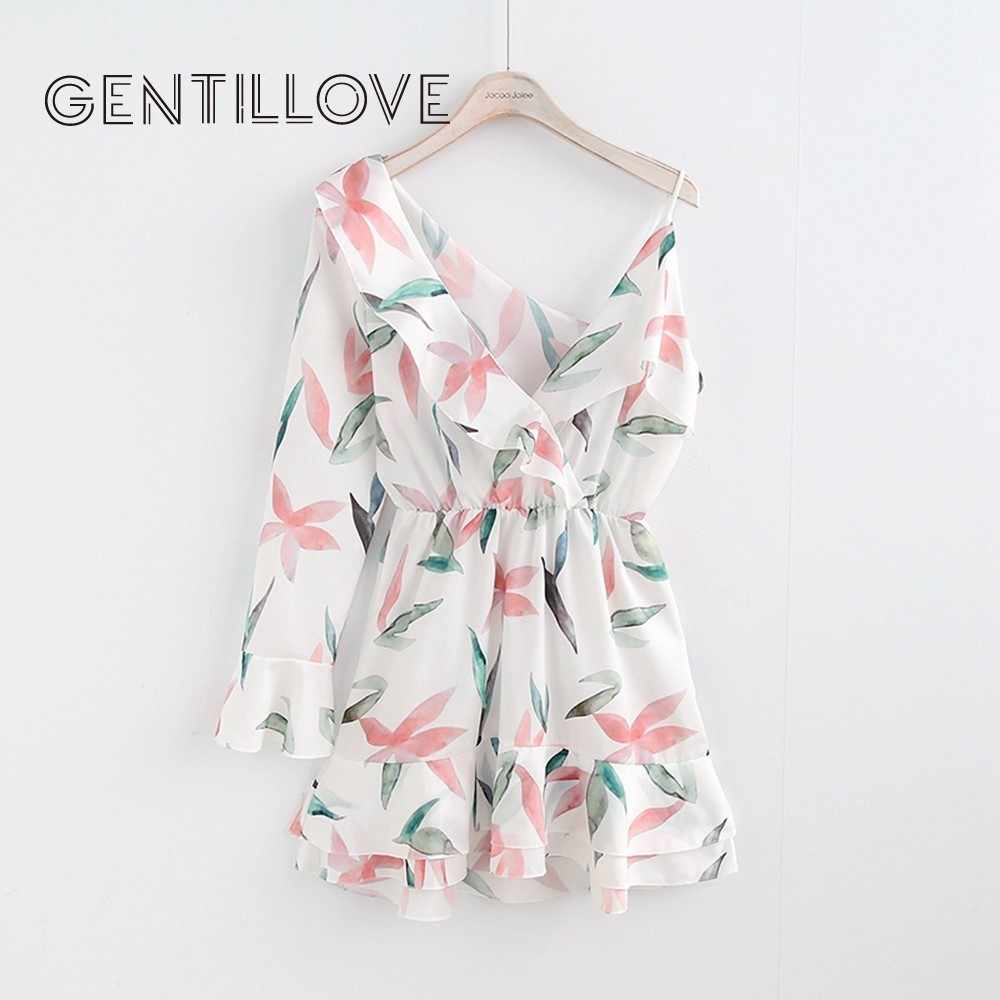 Gentillove Women Ruffles One Side Sleeves Backless Spaghetti Sash Boho Chiffon Dress 2019 Sexy V-Neck Summer Beach Print Dress