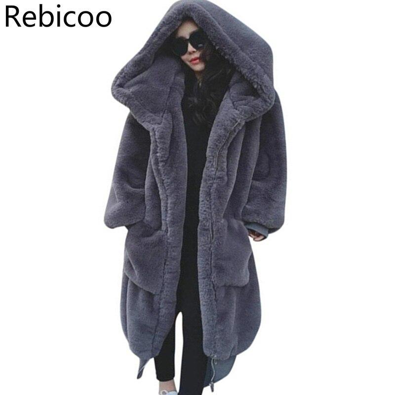 2019 Winter Women New Faux Fur Coat Plus Size High Quality Rabbit Fur Female Thick Warm Long Hooded Parkas Loose Outerwear