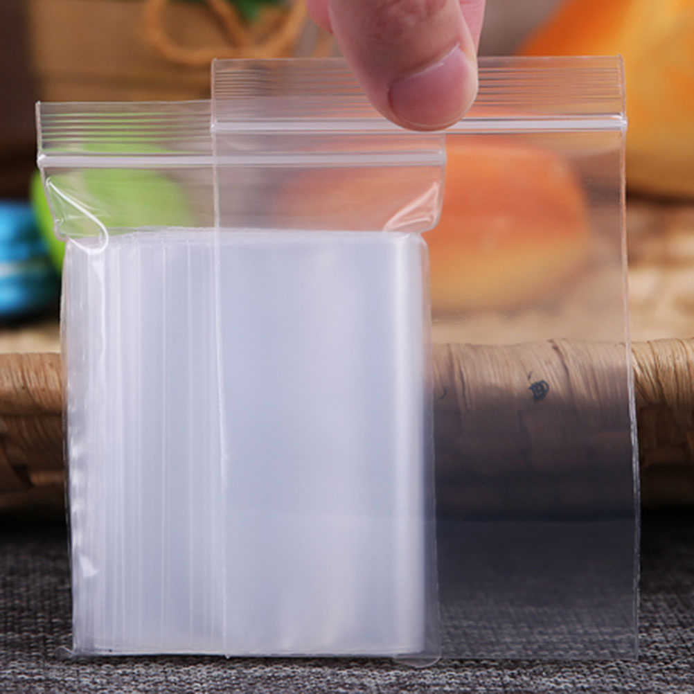 100/300Pcs Thickened Reusable Clear Plastic Seal Bags Poly Bag Zip Reclosable Self Lock Dispenser Pouches Storage Bags