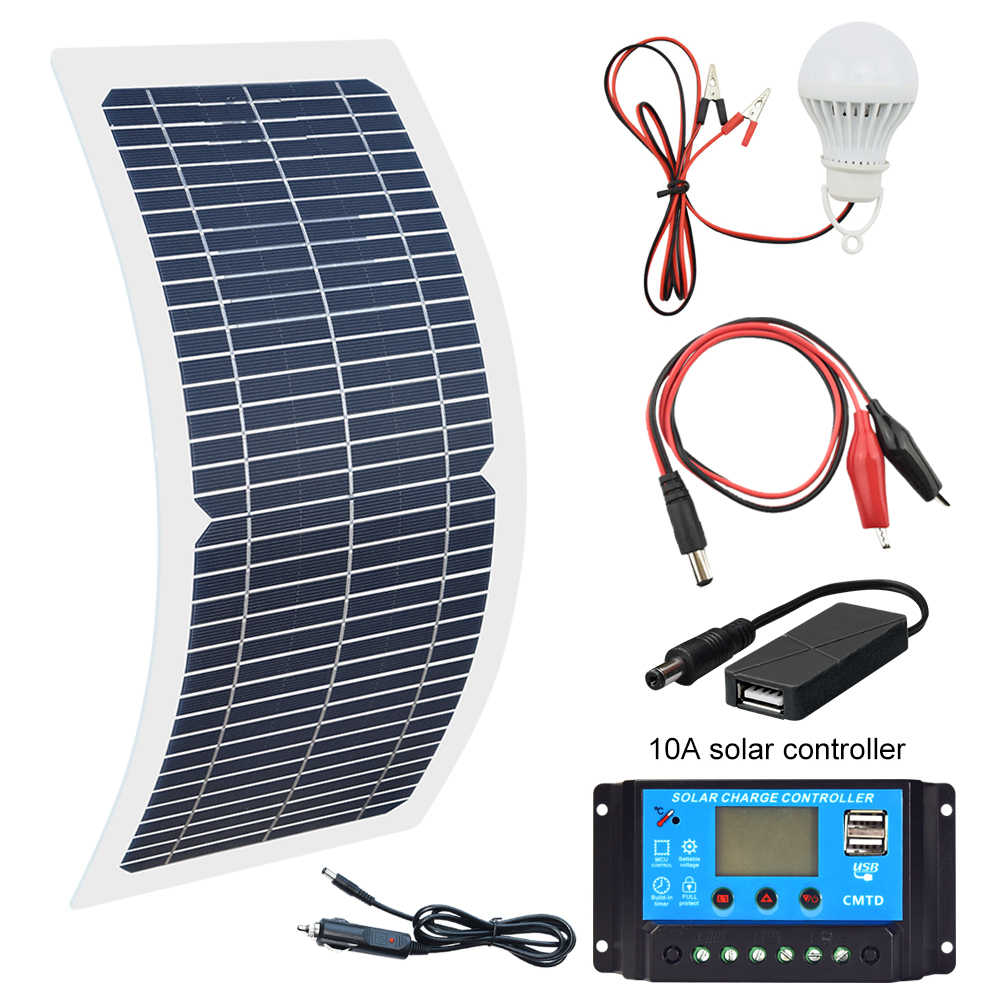 18V 10W Solar Panel+10A Charge Controller Battery Charger Kit + LED Light For RV Car Boat Tourism solar lamp 3W Solarlicht