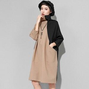 Image 3 - [EAM] 2020 nouveau printemps hiver col haut à manches longues Hit couleur ample grande taille sweat robe femmes mode marée JK399