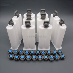 10 Set 50ml 1:1 AB Epoxy Glue Cartridge Barrel PP Disposable Dual Glue Cartridge for Manual Caulking Gun Dispenser Glue Gun Tool