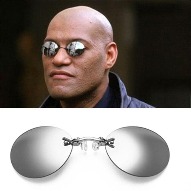 29f9630a9f7b Mini Rimless Sunglasses Clip On Nose Lens Round Glasses Fashion Matrix  Morpheus Frameless Vintage Men Eyeglasses UV400