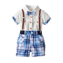 VTOM Summer Baby Boys  Sets Short Sleeve Tops+Suspenders Plaid Shorts Pants Formal Gentleman Clothes XN16