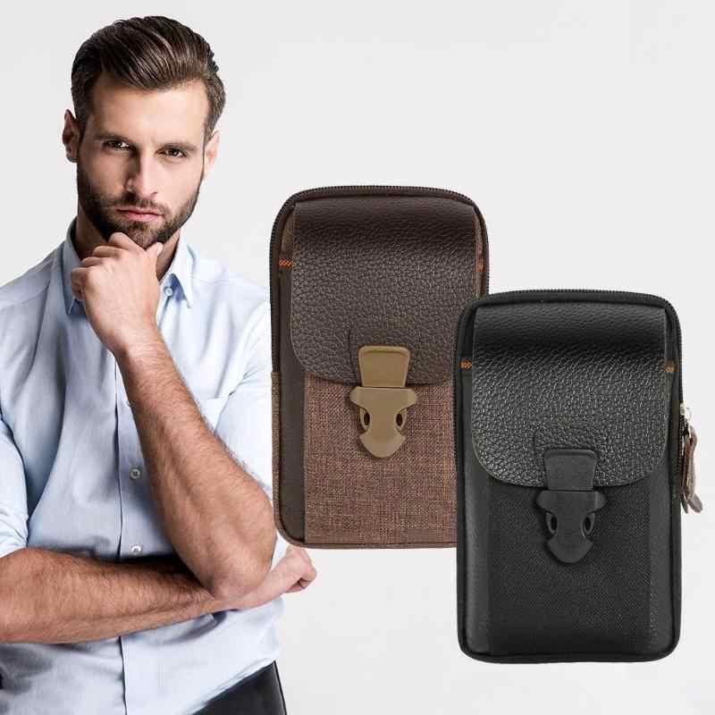 PU 革の男性のウエストバッグ高品質ジッパー黒コーヒー小さなカードホルダー 6 インチ電話財布パック耐久性のあるファニー財布