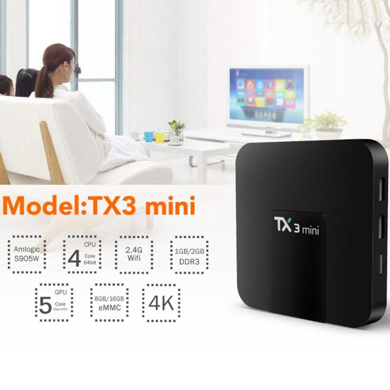 <font><b>TX3</b></font> <font><b>Mini</b></font> <font><b>Android</b></font> <font><b>7.1</b></font> 1+16G/2+16G Smart TV Box HDMI2.0 Amlogic S905W Quad Core 2.4G WiFi BT4.0 4K Set-top Box Home Media Player image