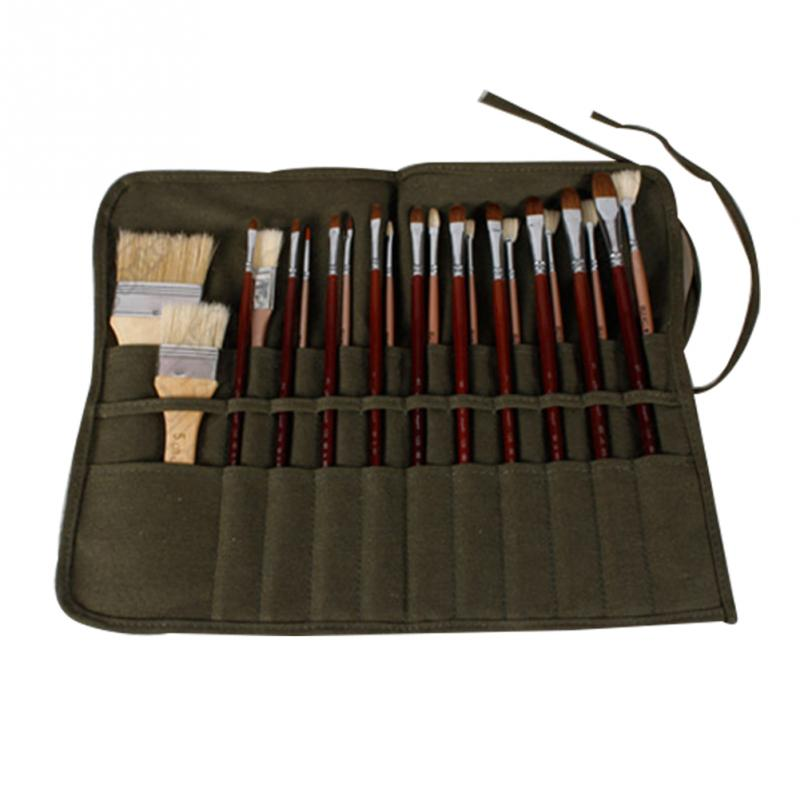 Pencil Bag Painting Brush Bag Artist Watercolor Draw Pen Oil Paint Pen Stationery Cases Holder Roll Up Army Green Canvas Pouch